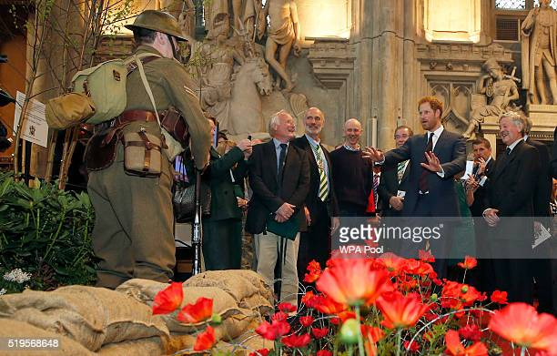 Prince Harry reacts as he looks at a poppy garden with a man dressed as a World War I 'Tommy' British Soldier at the Lord Mayor's Big Curry Lunch in...