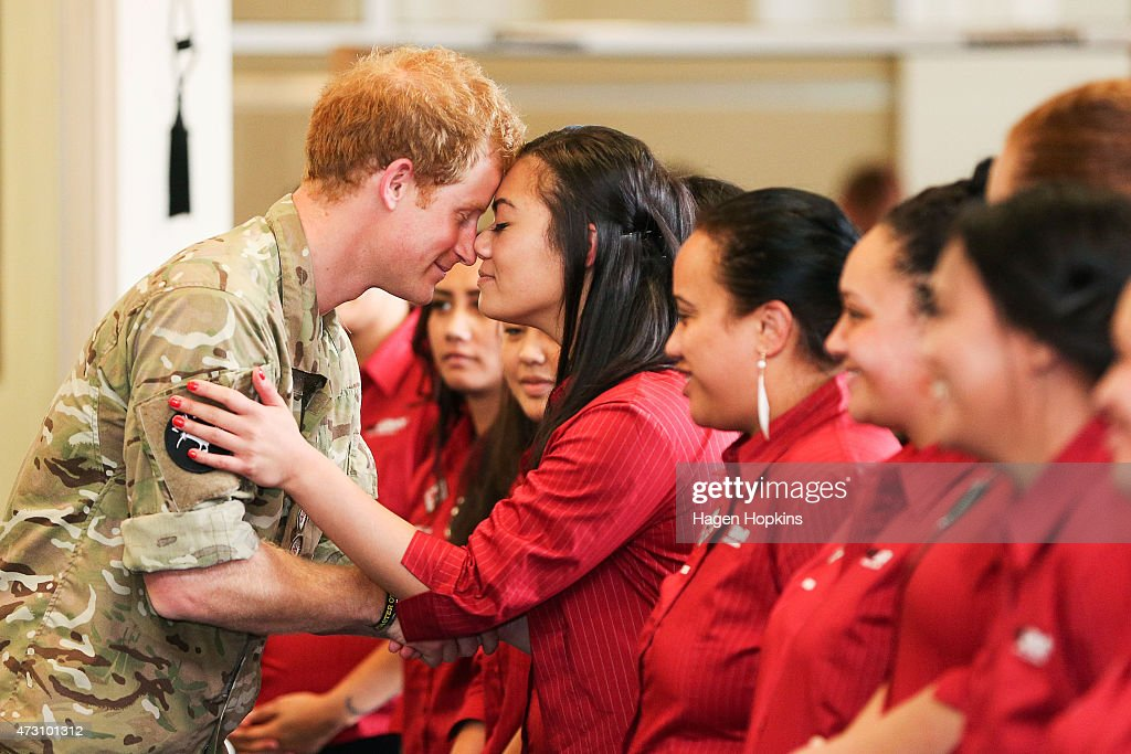 <a gi-track='captionPersonalityLinkClicked' href=/galleries/search?phrase=Prince+Harry&family=editorial&specificpeople=178173 ng-click='$event.stopPropagation()'>Prince Harry</a> receives a hongi from a member of the Kairanga Kapa Haka group during a visit to Linton Military Camp on May 13, 2015 in Palmerston North, New Zealand. <a gi-track='captionPersonalityLinkClicked' href=/galleries/search?phrase=Prince+Harry&family=editorial&specificpeople=178173 ng-click='$event.stopPropagation()'>Prince Harry</a> is in New Zealand from May 9 through to May 16 attending events in Wellington, Invercargill, Stewart Island, Christchurch, Linton, Whanganui and Auckland.
