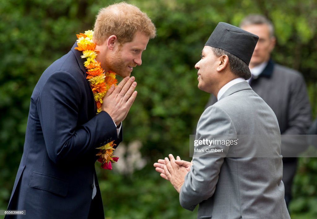 Prince Harry receives a traditional welcome as he attends a ceremony to celebrate the bicentenary of relations between the UK and Nepal at Embassy of Nepal on March 20, 2017 in London, England.