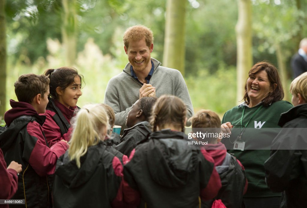 Prince Harry samples nettle tea with Felstead Prep School year 7 pupils as he visits The Chatham Green Project, a conservation and educational initiative run by the Wilderness Foundation in Chatham Green, available to all schools in Essex, on September 14, 2017 near Chelmsford, England.