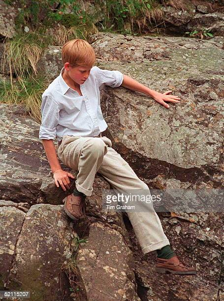 Prince Harry Scaling The Rocks By Muick Falls Glen Muick Balmoral Castle Estate