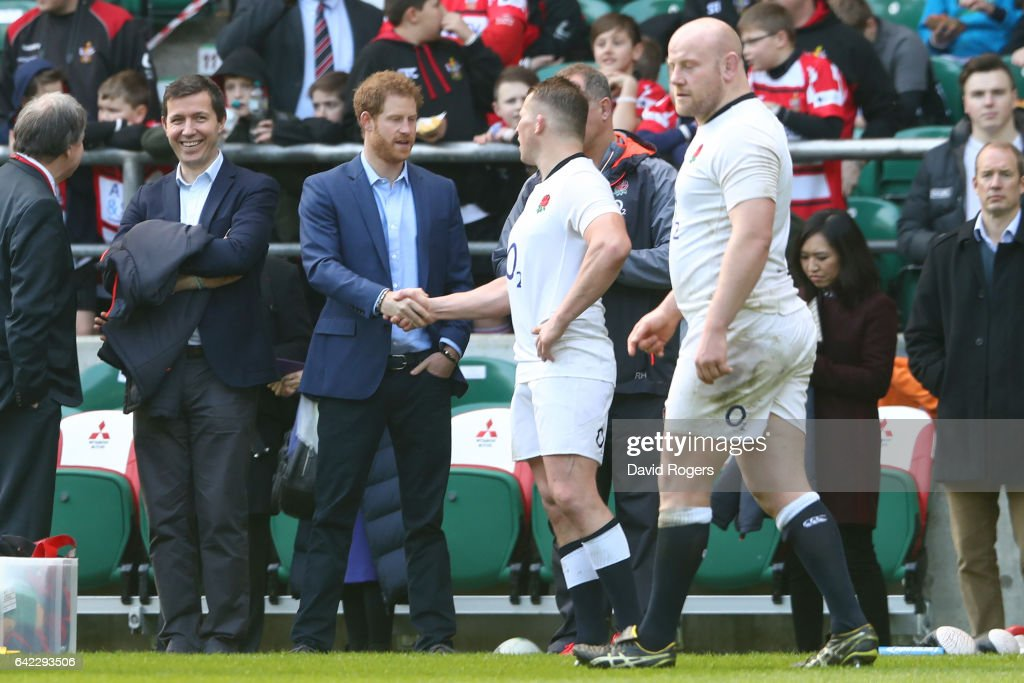 Prince Harry shakes hands with Dylan Hartley during an England open training session at Twickenham Stadium on February 17, 2017 in London, England.