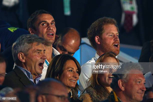 Prince Harry sings the national anthem during the 2015 Rugby World Cup Pool A match between England and Australia at Twickenham Stadium on October 3...
