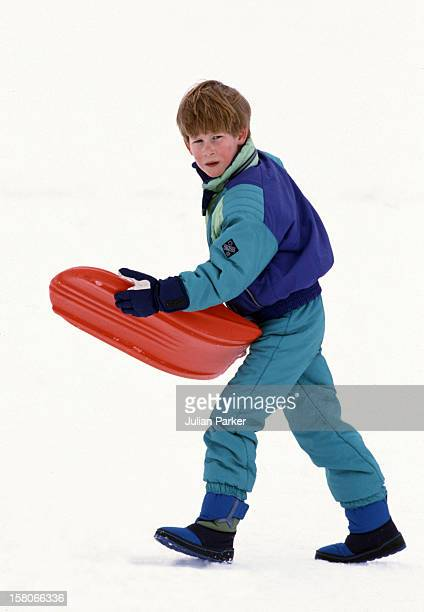Prince Harry Sledging In Lech Austria With His Brother Prince William On An Annual Ski Holiday With Their Mother The Princess Of Wales