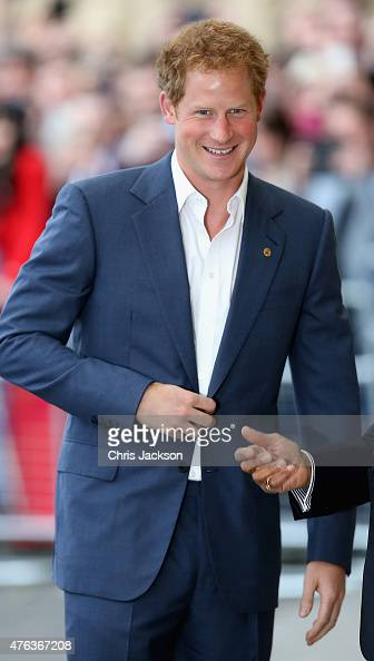 Prince Harry smiles as he arrives at a Gala Concert in Aid of WellChild at the Royal Albert Hall on June 8 2015 in London England