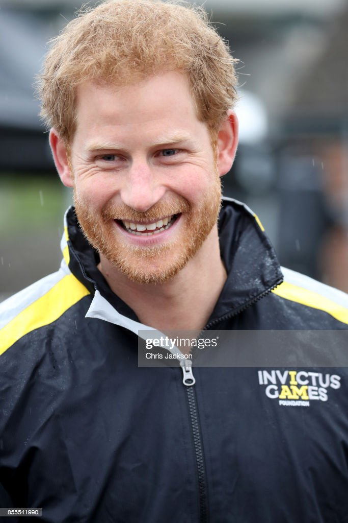 Prince Harry smiles as he attends the Archery on day 7 of the Invictus Games 2017 at Fort York on September 29, 2017 in Toronto, Canada