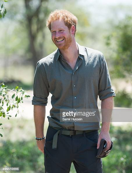 Prince Harry smiles he visits the Southern African Wildlife College a flagship centre close to Kruger National Park during an official visit to...