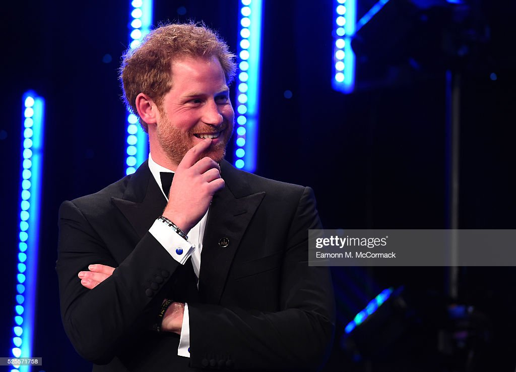 Prince Harry smiles on stage as he talks about the Invictus Games at Battersea Evolution on April 28, 2016 in London, England. The BT Sport Industry Awards is the most prestigious commercial sports awards ceremony in Europe, where over 1750 of the industry's key decision-makers mix with high profile sporting celebrities for the most important networking occasion in the sport business calendar.