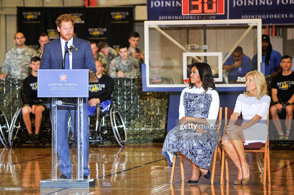 Prince Harry speaks as First Lady Michelle Obama and Dr. Jill Biden listen during the Joining Forces Invictus Games 2016 Event at the Wells Fields House on October 28, 2015 in Fort Belvoir, Va.