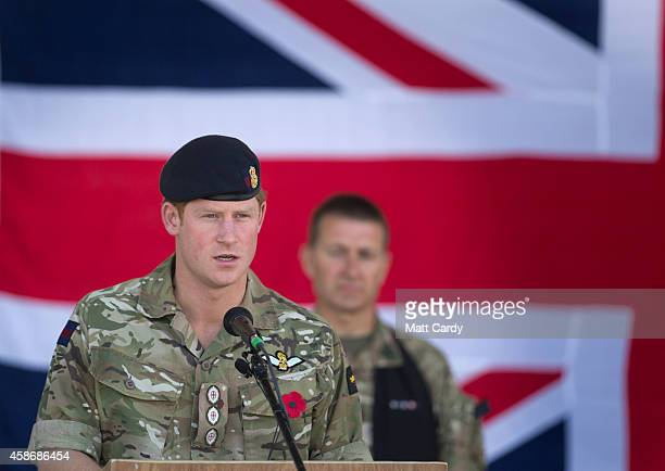 Prince Harry speaks as he joins British troops and service personal remaining in Afghanistan and International Security Assistance Force personnel...