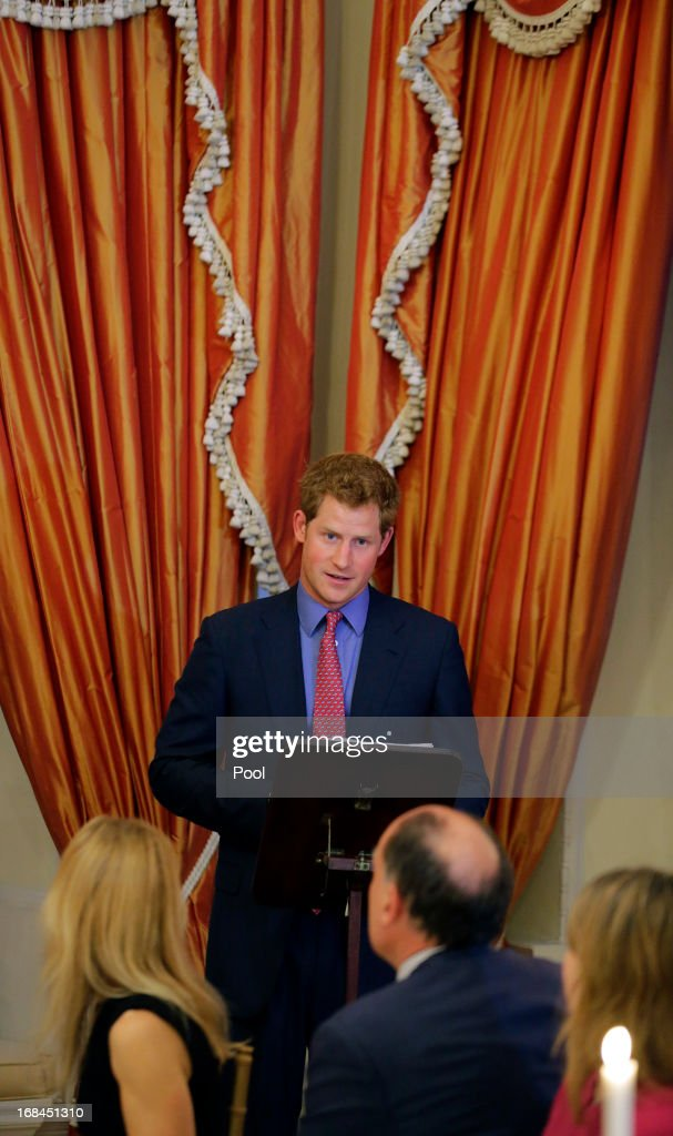 Prince Harry speaks at a dinner at the British Ambassador's residence on May 9, 2013 in Washington,DC.