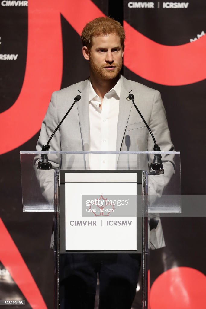 Prince Harry speaks at the CIMVHR Conference during the Invictus Games 2017 at the Beanfield Centre on September 25, 2017 in Toronto, Canada