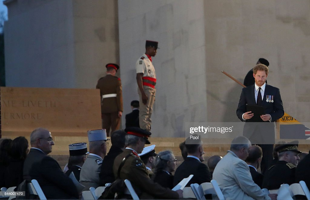 Prince Harry speaks at the Somme Centenary commemorations at the Thiepval Memorial on June 30, 2016 in Albert, France.