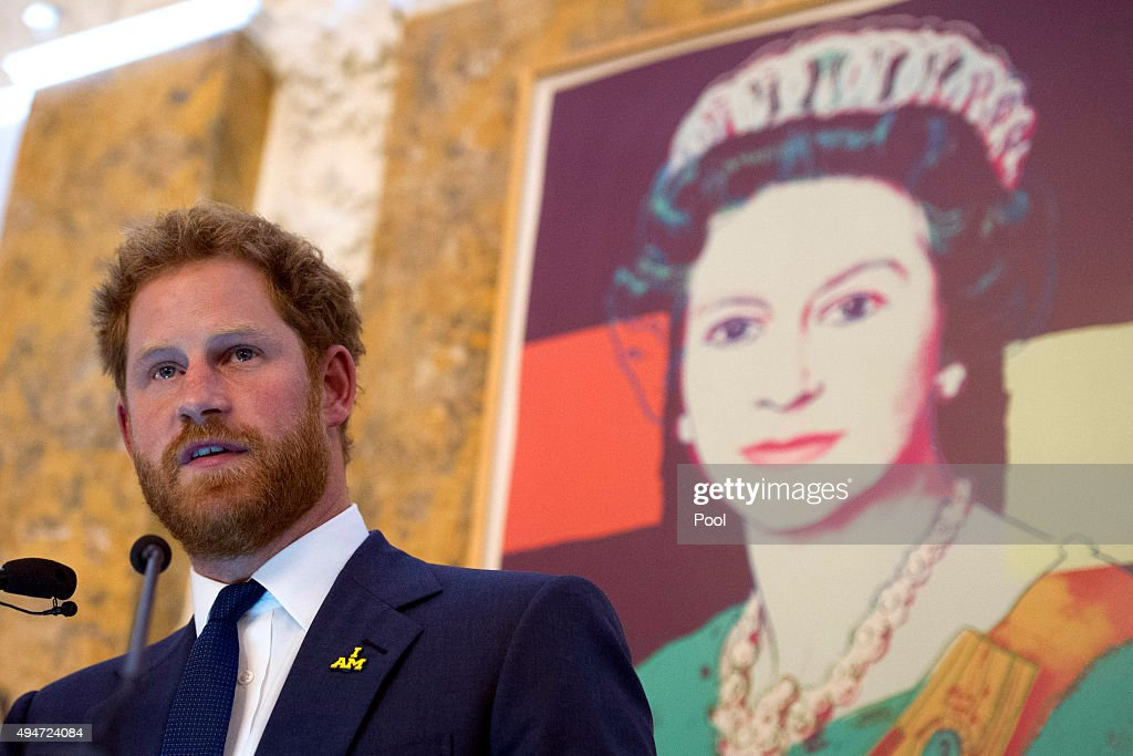 Prince Harry speaks during an Invictus Games reception at the British Ambassador's Residence on October 28, 2015 in Washington DC.