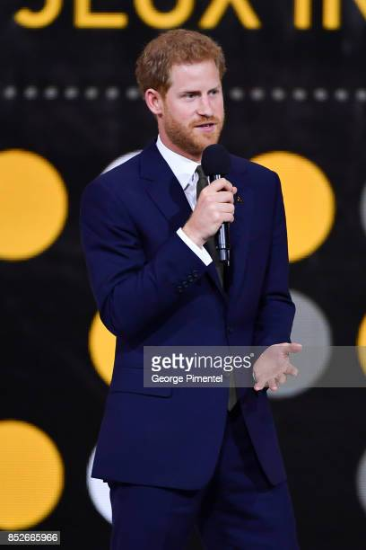 Prince Harry speaks during the opening ceremony of Invictus Games Toronto 2017 at Air Canada Centre on September 23 2017 in Toronto Canada