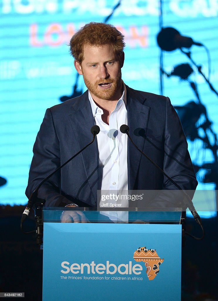 <a gi-track='captionPersonalityLinkClicked' href=/galleries/search?phrase=Prince+Harry&family=editorial&specificpeople=178173 ng-click='$event.stopPropagation()'>Prince Harry</a> speaks on stage at the Sentebale Concert at Kensington Palace on June 28, 2016 in London, England. Sentebale was founded by <a gi-track='captionPersonalityLinkClicked' href=/galleries/search?phrase=Prince+Harry&family=editorial&specificpeople=178173 ng-click='$event.stopPropagation()'>Prince Harry</a> and Prince Seeiso of Lesotho over ten years ago. It helps the vulnerable and HIV positive children of Lesotho and Botswana.