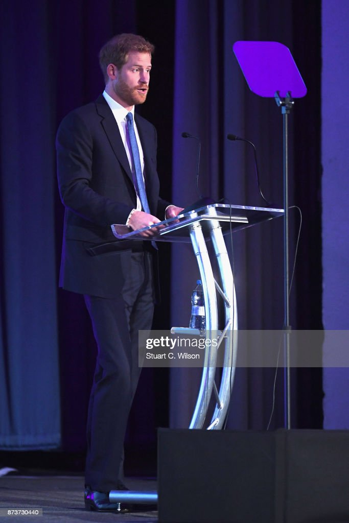 Prince Harry speaks on stage at the Virgin Money Giving Mind Media Awards at Odeon Leicester Square on November 13, 2017 in London, England.