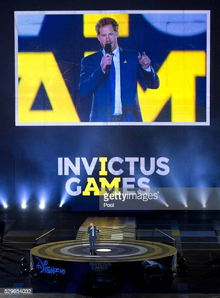 Prince Harry speaks on stage during the Opening Ceremony of the Invictus Games Orlando 2016 at ESPN Wide World of Sports on May 8 2016 in Orlando...