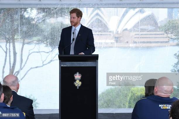 Prince Harry speaks to guests and the Australian Invictus Squad as he attends the Official Launch of Invictus Games Sydney 2018 at Admiralty House on...