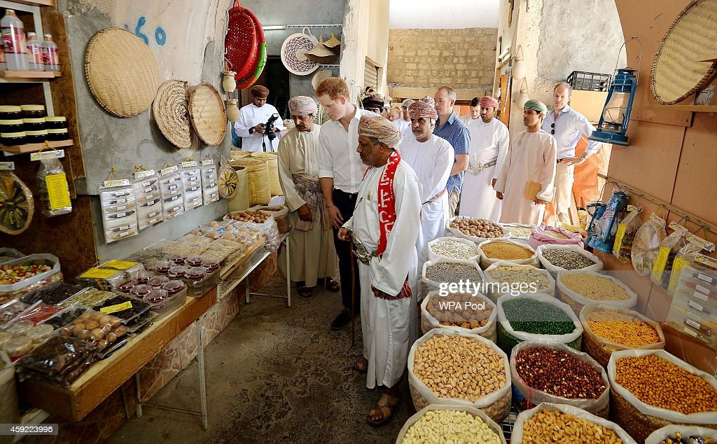 Prince Harry strolls through a Souk during a visit to Nizra Fort on November 19 2014 in Muscat Oman Prince Harry is on a three day visit to Oman...