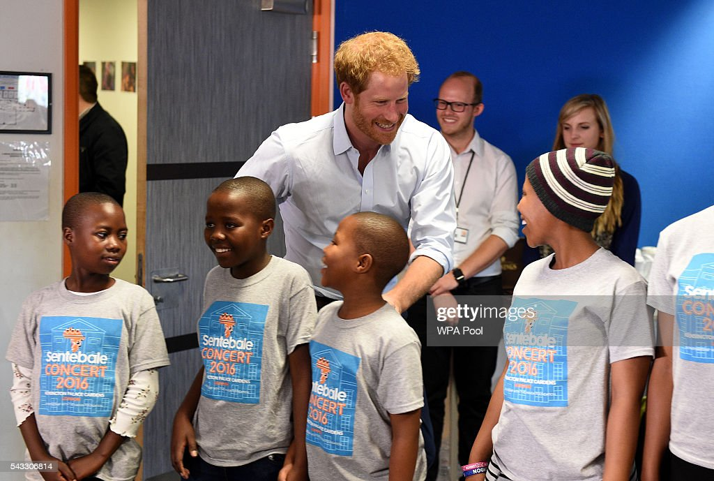 <a gi-track='captionPersonalityLinkClicked' href=/galleries/search?phrase=Prince+Harry&family=editorial&specificpeople=178173 ng-click='$event.stopPropagation()'>Prince Harry</a> surprises members of the Basotho Youth Choir as he arrives to watch them during their rehearsals at the Brit School on June 27, 2016 in London, England. The Basotho Youth Choir will perform alongside Sentebale Ambassador Joss Stone at tomorrow's Sentebale Concert at Kensington Palace, headlined by Coldplay. The choir members have all been supported by Sentebale's Secondary School Bursaries Progamme or Care for Vulnerable Children Programme. The Bursaries Programme covers the cost of school fees, uniforms and books for some of Lesotho's most disadvantaged children.