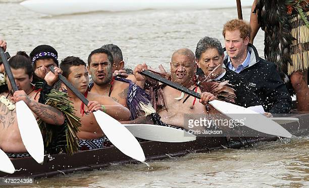 Prince Harry takes a Waka journey on the Whanganui River on May 14 2015 in Wanganui New Zealand Prince Harry is in New Zealand from May 9 through to...