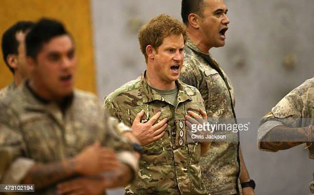 Prince Harry takes part in 'Haka' at Lintern Military Base during a visit on May 13 2015 in Palmerston North New Zealand Prince Harry is in New...