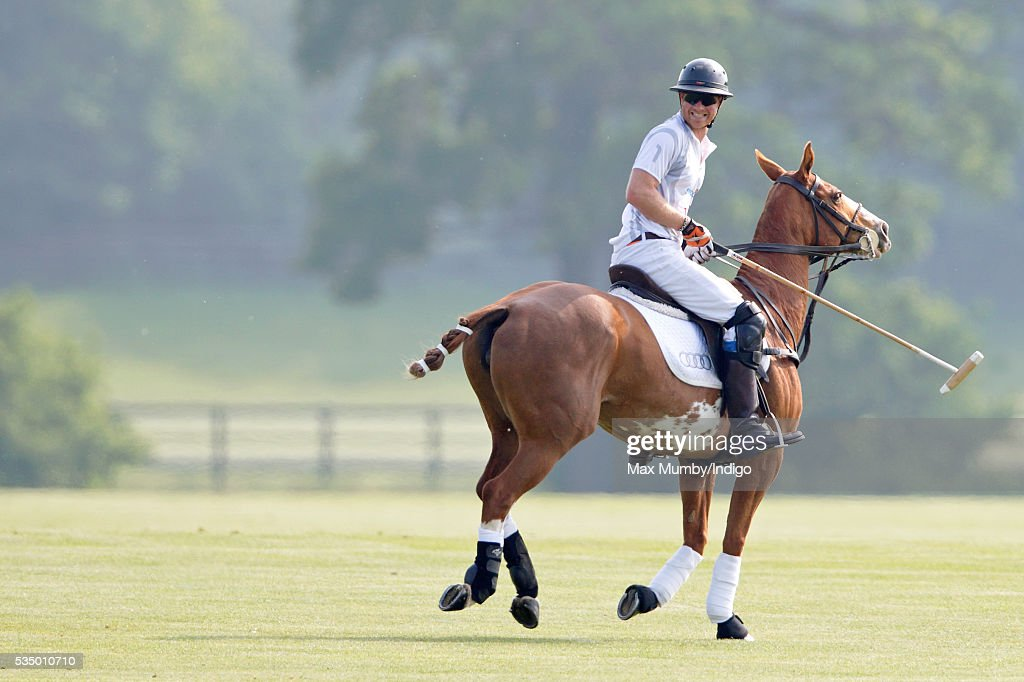 Prince Harry takes part in the Audi Polo Challenge at Coworth Park Polo Club on May 28, 2016 in Ascot, England.