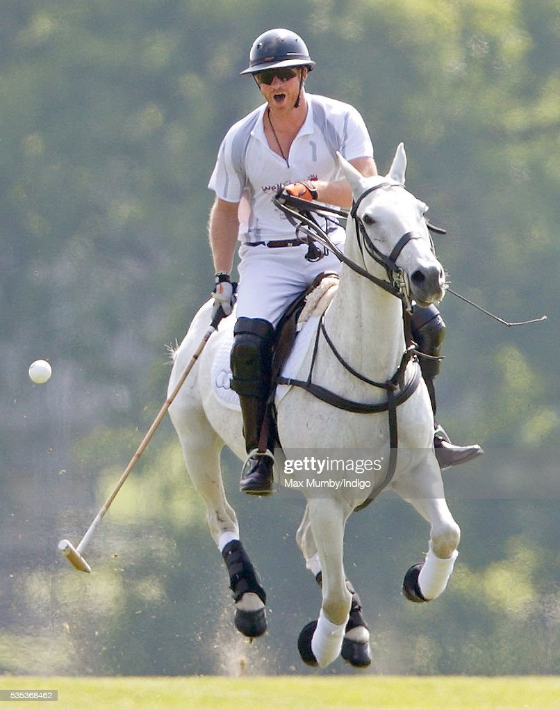 <a gi-track='captionPersonalityLinkClicked' href=/galleries/search?phrase=Prince+Harry&family=editorial&specificpeople=178173 ng-click='$event.stopPropagation()'>Prince Harry</a> takes part in the Audi Polo Challenge at Coworth Park Polo Club on May 29, 2016 in Ascot, England.