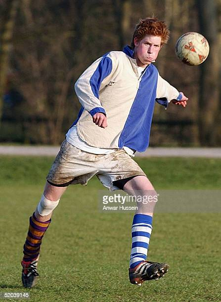 Prince Harry takes part in the Field Game at Eton College between the School and a team of Old Boys in March 2003 in Eton England