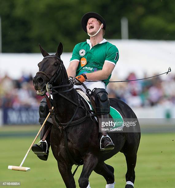 Prince Harry takes part in the Maserati Jerudong Park Trophy polo match at Cirencester Park Polo Club on May 24 2015 in Cirencester England