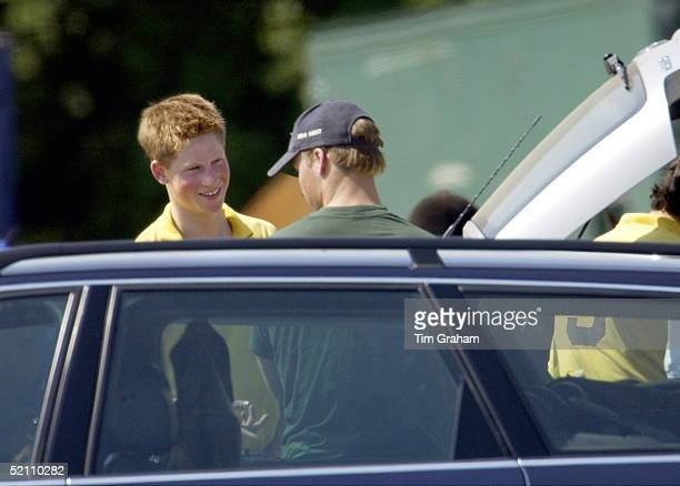 Prince Harry Talking With His Brother Prince William At Polo At Cirencester Park In Gloucestershire