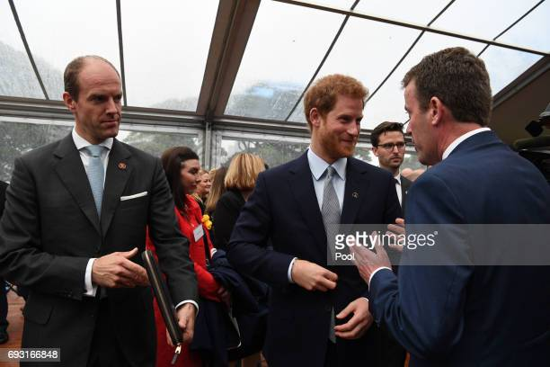 Prince Harry talks to guests during a function at Admiralty House on June 7 2017 in Sydney Australia Prince Harry is on a twoday visit to Sydney for...
