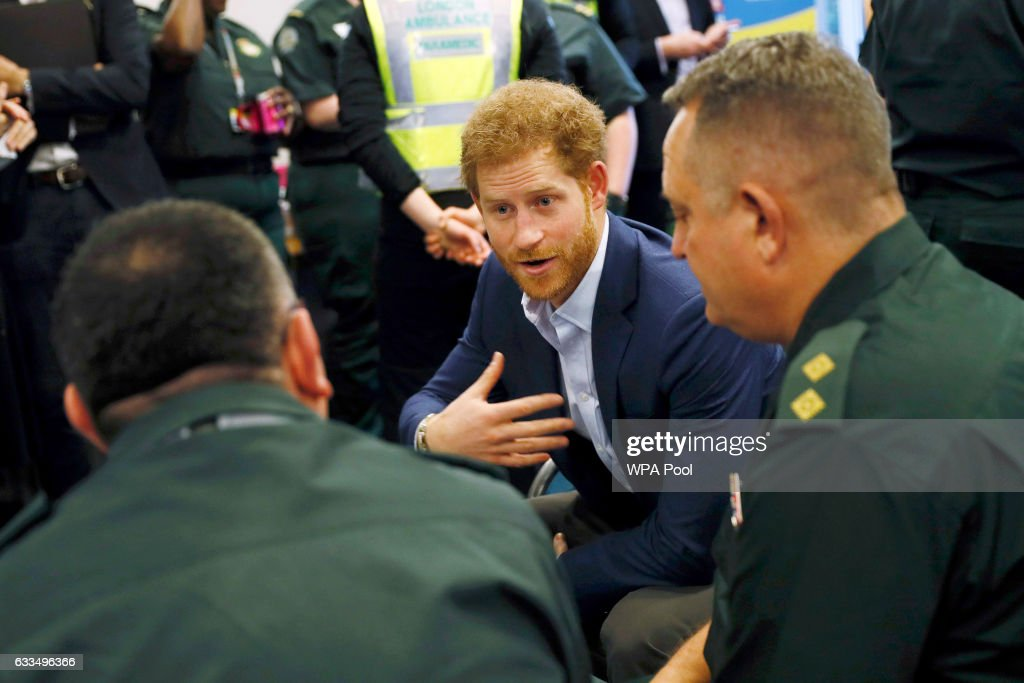 Prince Harry talks to medical staff as part of the Heads Together campaign at the London Ambulance Service in support of 'Time to Talk' day on February 2, 2017 in London, England. 'Time to Talk' day is an annual awareness day run by Time To Change to raise awareness of mental health.
