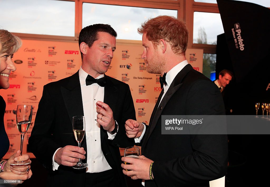 Prince Harry (R) talks to Tim Henman during the BT Sport Industry Awards 2016 at Battersea Evolution on April 28, 2016 in London, England. The BT Sport Industry Awards is the most prestigious commercial sports awards ceremony in Europe, where over 1750 of the industry's key decision-makers mix with high profile sporting celebrities for the most important networking occasion in the sport business calendar.