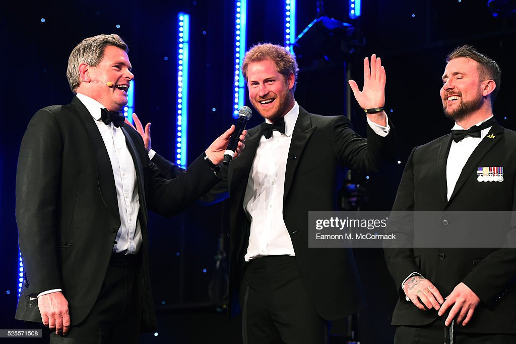 Prince Harry talks with Mark Durden-Smith (L) about the Invictus Games at Battersea Evolution on April 28, 2016 in London, England. The BT Sport Industry Awards is the most prestigious commercial sports awards ceremony in Europe, where over 1750 of the industry's key decision-makers mix with high profile sporting celebrities for the most important networking occasion in the sport business calendar.