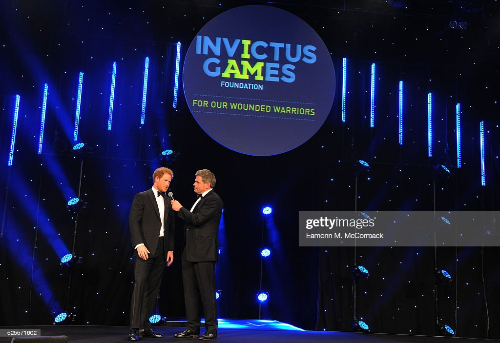 Prince Harry talks with Mark Durden-Smith about the Invictus Games at Battersea Evolution on April 28, 2016 in London, England. The BT Sport Industry Awards is the most prestigious commercial sports awards ceremony in Europe, where over 1750 of the industry's key decision-makers mix with high profile sporting celebrities for the most important networking occasion in the sport business calendar.