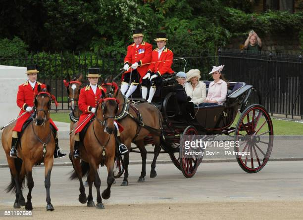 Prince Harry The Duchess of Cornwall and the Duchess of Cambridge arrive in Horse Guards Parade to attend Trooping the Colour PRESS ASSOCIATION Photo...