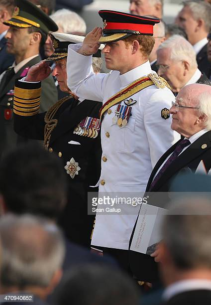 Prince Harry the Prince of Wales Prince Charles and Irish President Michael Higgins attend the Commonwealth and Irish Memorial Service at Cape Helles...