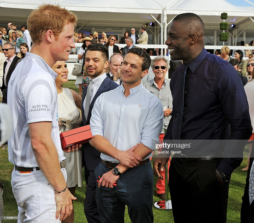 <a gi-track='captionPersonalityLinkClicked' href=/galleries/search?phrase=Prince+Harry&family=editorial&specificpeople=178173 ng-click='$event.stopPropagation()'>Prince Harry</a>, Tonya Meli, <a gi-track='captionPersonalityLinkClicked' href=/galleries/search?phrase=Dominic+Cooper&family=editorial&specificpeople=863047 ng-click='$event.stopPropagation()'>Dominic Cooper</a>, <a gi-track='captionPersonalityLinkClicked' href=/galleries/search?phrase=Warren+Brown&family=editorial&specificpeople=2234096 ng-click='$event.stopPropagation()'>Warren Brown</a> and <a gi-track='captionPersonalityLinkClicked' href=/galleries/search?phrase=Idris+Elba&family=editorial&specificpeople=215443 ng-click='$event.stopPropagation()'>Idris Elba</a> attend day 2 of the Audi Polo Challenge at Coworth Park Polo Club on August 4, 2013 in Ascot, England.