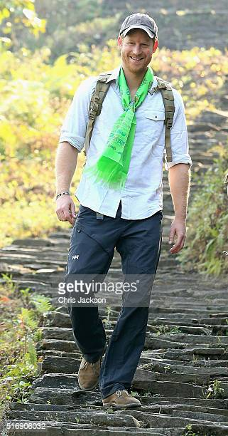 Prince Harry treks in the Himalayan foothills out of the village of Leorani on day four of his visit to Nepal on March 22 2016 in Leorani Nepal...