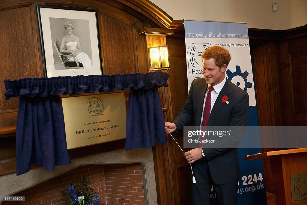 <a gi-track='captionPersonalityLinkClicked' href=/galleries/search?phrase=Prince+Harry&family=editorial&specificpeople=178173 ng-click='$event.stopPropagation()'>Prince Harry</a> unveils a plaque as he visits Headway, the brain injury association at Bradbury House during an official visit to Nottingham on April 25, 2013 in Nottingham, England.