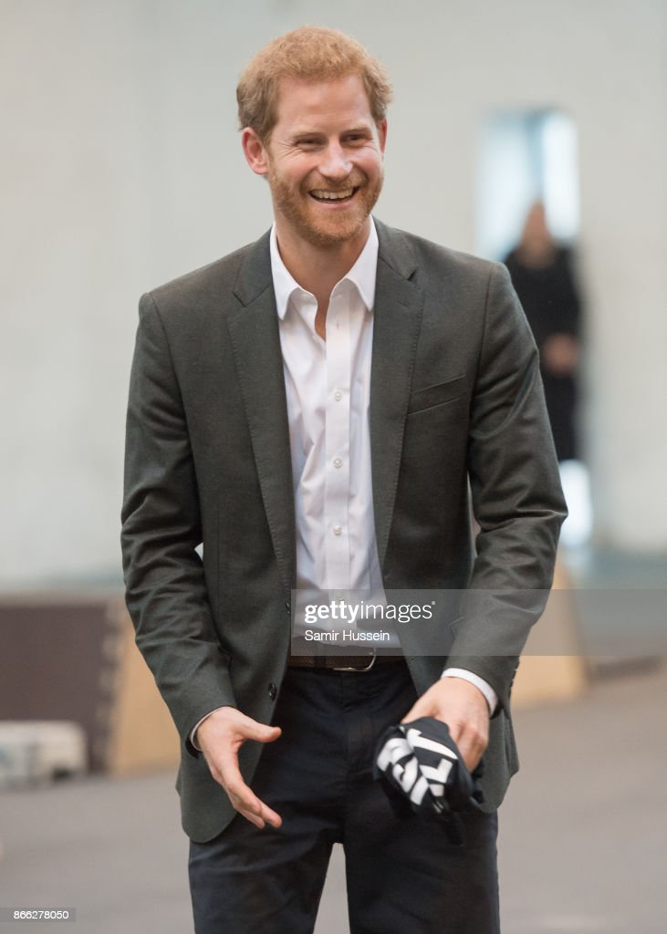 Prince Harry visits GAME, which uses sports to create lasting social change and inspires them to become local community role models on October 25, 2017 in Copenhagen, Denmark.