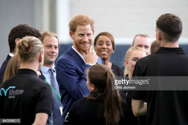 Prince Harry visits Manchester City Football Club to drop in on a Coach Core training session on September 4 2017 in Manchester England