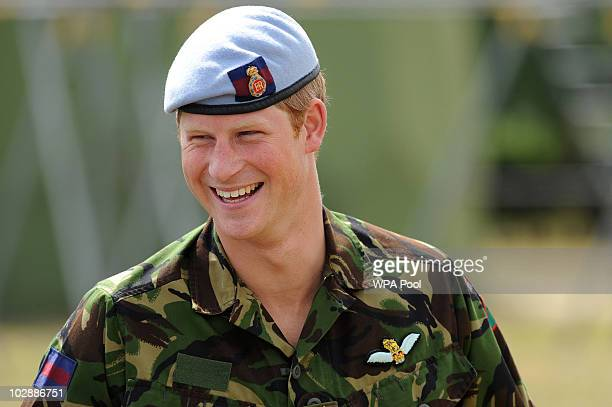 Prince Harry visits RAF Honington on July 14 2010 in Suffolk easten England During his visit Prince Harry was shown Fuchs armoured vehicles that have...