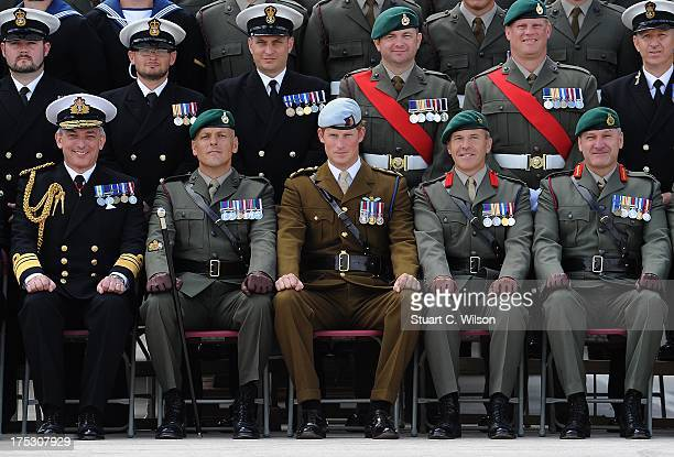 Prince Harry visits Royal Marines Tamar HM Naval Base on August 2 2013 in Devonport England Prince Harry visited the base in Plymouth to open the new...