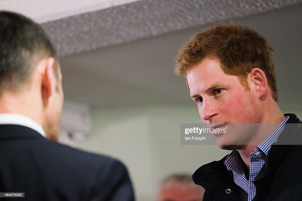 Prince Harry visits the charity Armed Forces and Veterans Launchpad at Avondale House and meets with former servicemen on February 25, 2015 in Newcastle upon Tyne, England. The charity provides accommodation and support for Armed Forces veterans who are making the transition into civilian life.