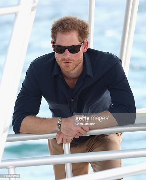 Prince Harry visits the coral reef off Grand Anse Beach as he visits mangrove restoration projects ahead of visiting the coral reef on the ninth day...