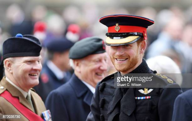 Prince Harry visits the Field of Remembrance at Westminster Abbey on November 9 2017 in London England