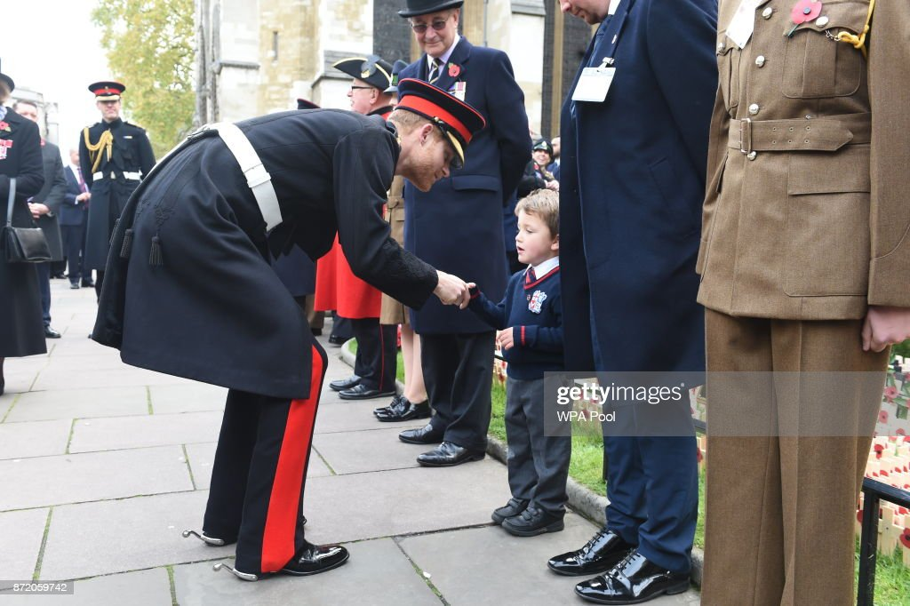 Prince Harry visits the Field of Remembrance at Westminster Abbey on November 9, 2017 in London, England.